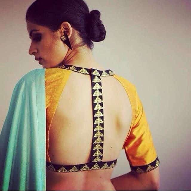 i shaped saree blouse design