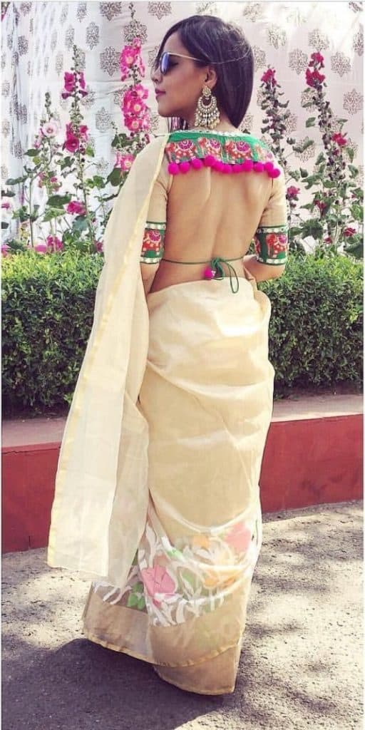 open back saree blouse